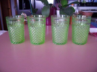 "Miss America green 4 1/2"" water tumblers (4)"