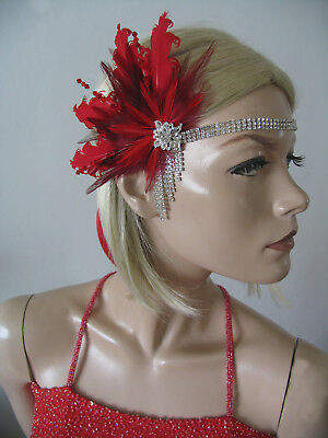 Red Burgundy Feather Flapper Crystal Headband Fascinator Gatsby Party