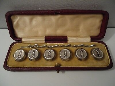 Cased Set of Antique Edwardian 'Silvered' Golfer Golf buttons c.1905.