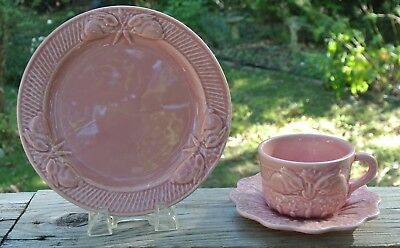 Pink Bordallo Pinheiro Rabbit Pattern Made in Portugal ~Luncheon,Cup & Saucer~