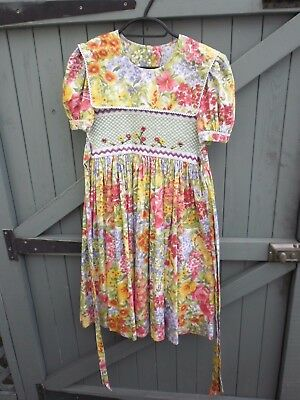 Vintage 40s/WW2 Style Embroidered/Smocked Floral Childrens   Dress-Age 7 to 10?