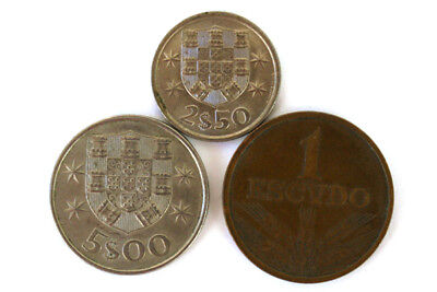 Lot Of Three 1,2 & 5 Escudo Coins From Portugal
