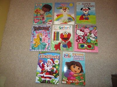 Lot of 8 Brand New Coloring Activity Books Children Hello Kitty Super Heroes +