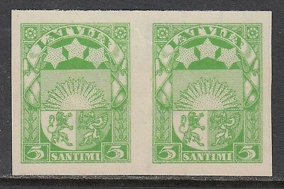 LATVIA 1931 5s ARMS, imperforate plate proof pair