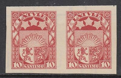LATVIA 1927 10s ARMS, imperforate plate proof pair