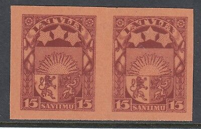 LATVIA 1927 15s ARMS, imperforate plate proof pair