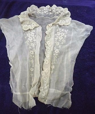 Antique Early Lace Bodice Fragment Collar