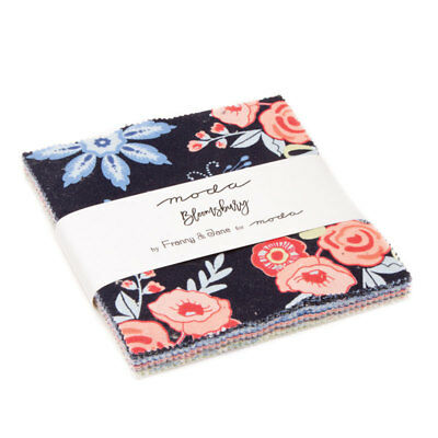 """Charm Pack~Bloomsbury~ MODA FABRIC~42-5"""" SQUARES~FRANNY & JANE~47510PP~ floral"""