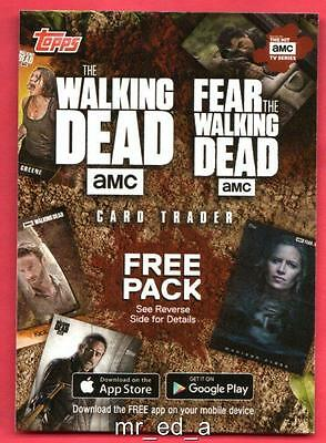 The WALKING DEAD 2017 Topps 6 Free Pack Card Trader Loot Digital AMC Fear MINT.
