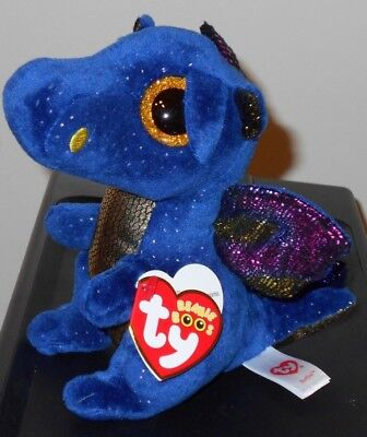 """Ty Beanie Boos ~ SAFFIRE the 6"""" Size Blue Dragon~ 2017 NEW ~ IN HAND"""