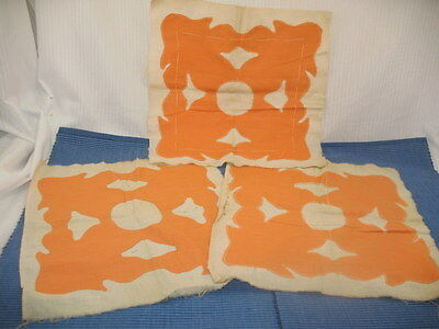 "Vintage 30'S Country Primitive Orange 3 Applique Quilt Blocks Grungy 13"" x 13"""