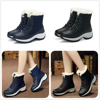 Women's Winter Snow Boots Artificial Wool Lining Warm Waterproof Lace Up Shoes
