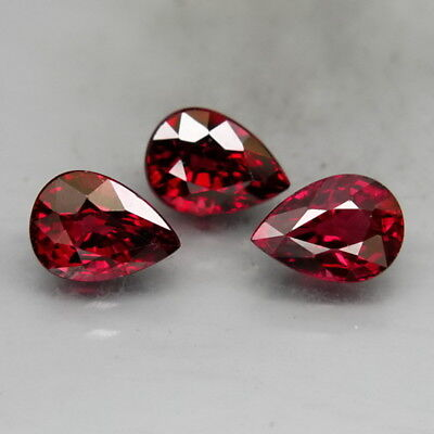 Pear Shape 7x5mm.Outstanding! Natural Red Rhodolite Garnet Africa 3Pcs/3.17Ct.