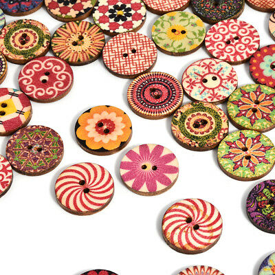 50Pcs 2 Holes Mixed Color Flower Picture Wood Button Apparel Sewing DIY U
