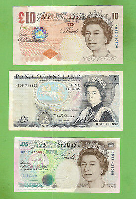 #d321. Great Britain  Circulated  Ten Pound  & 2 Five Pound Banknotes