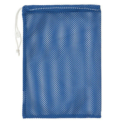 "Champion Sports 12x18"" Heavy Duty Nylon Mesh Equipment Bag w/ Drawstring, Blue"