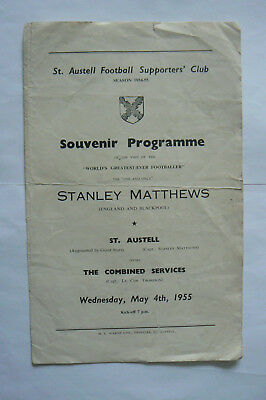 1955 ST.AUSTELL featuring Stanley Matthews V COMBINED SERVICES