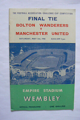 1958 Bolton V Manchester United Fa Cup Final Programme