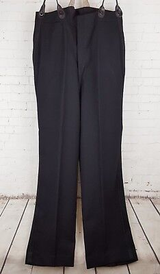 Vtg Black 1940s Button Fly Braid Wool Trousers Brace Tabs Rear Cinch 33/32 EJ65