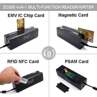 4 in 1 Magnetic Stripe&EMV/IC Chip&RFID&PSAM Card Reader Writer Track 3+free SDK