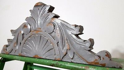 "Shabby Hand Carved Wood Pediment 13"" Antique French Crown Architectural Salvage"