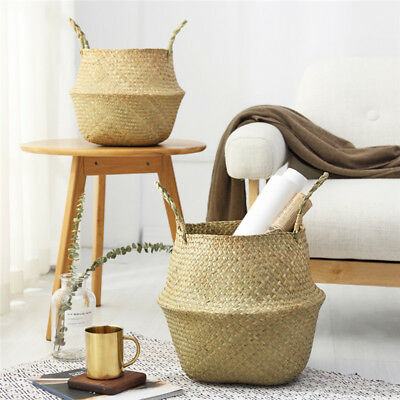 Seagrass Flower Belly Basket Storage Plant Pot Laundry Organizer Bags Foldable