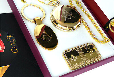FREEMASON 24ct GOLD Hunter Pocket Watch Keyring Bullion Bar Gift Set in Case