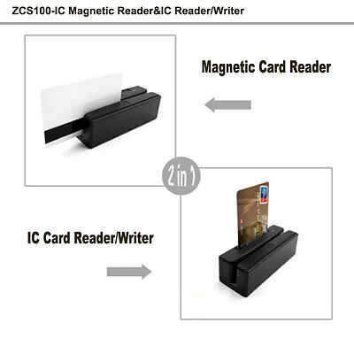 ZCS100-IC USB Magnetic Stripe Card Reader+EMV&IC Chip Card Reader Writer