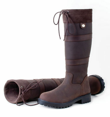Rhinegold Elite Brooklyn Long Country Boots Brown Waxy Suede