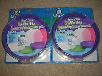 Brand New Lot of 2 Sets of Gerber Snap 'n Store Toddler Plates with Lids 6 Total