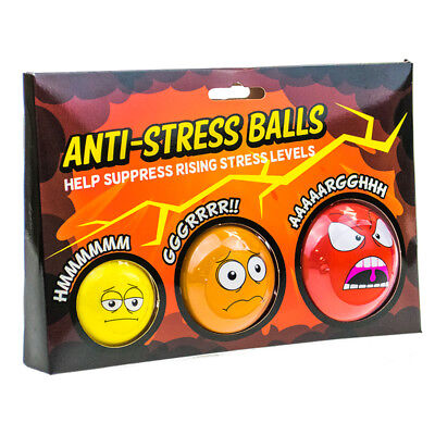3 Anti-Stress Balls Squeeze Novelty Office Desk Toy Stress Relief Gift