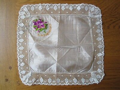 Vintage silk lace handkerchief, To my dear daughter, Flowers greetings