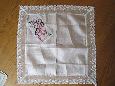 Vintage silk lace handkerchief, Souvenir from France 1918, Flowers greetings