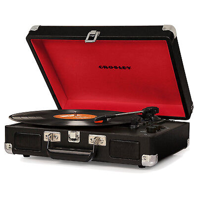 Crosley Cruiser Deluxe Portable 3 Speed Bluetooth Record Player Turntable, Black