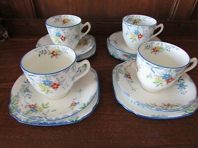 Vintage Sutherland Deco? Hand Painted Tea for Four Set Pretty pastels
