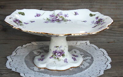 Unique Hammersley Victorian Violets Footed Pedestal Compote Dish Oval -ish shape