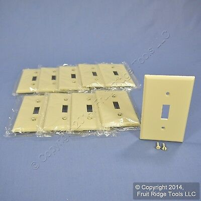 10 Leviton Ivory 1-Gang Toggle Switch Cover Wall Plate Switchplates 86001-IMP
