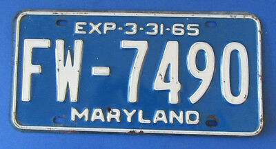 1965 Maryland State License Plate Tag   Fw*7490  White / Blue