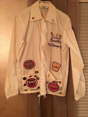Vintage Bowling Jacket With Vintage Patches And Pins Large Made In USA Rare