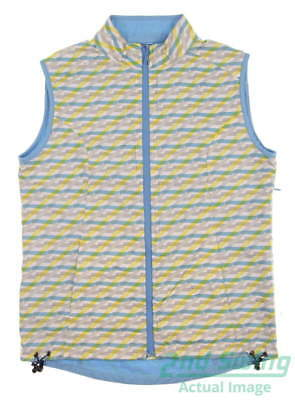 New Womens Peter Millar Wave Plaid Reversible Golf Vest Small S Wave MSRP $130