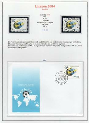 LITHUANIA 2004 MNH/USED-CTO/FDC SG836 Centenary of F.I.F.A.