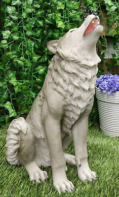 "Large Howling Wolf Statue 18""H Mysterious Cries Of The Night Wolf Totem Spirit"