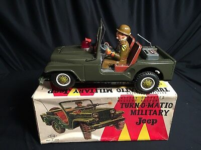 Nomura Toys Japan US Military Jeep Willy aus Blech mit Batteriebetrieb in OVP