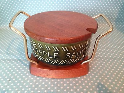 Vintage Wyncraft Lord Nelson Pottery apple sauce pot with original stand & lid.