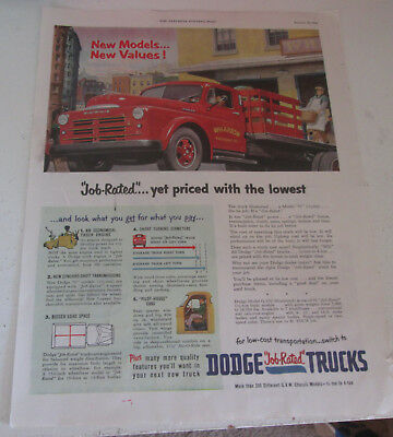 1950 original ad Dodge Trucks Stakeside Truck Being Loaded at Shipping Dock