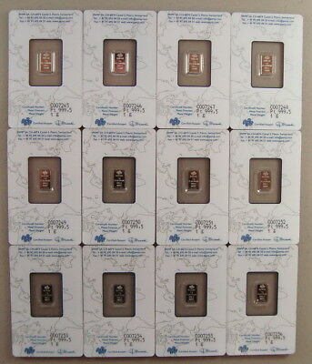 Lot of (12) Pamp Suisse .9995 Fine 1 Gram Platinum Bullion Bars