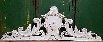 "Shabby Hand Carved Wood Pediment 30"" Antique French Crown Architectural Salvage"