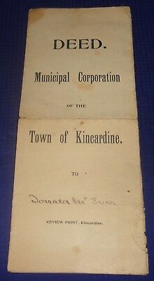 RP2221 Antique Deed Town of Kincardine ON Donald McIver 1897