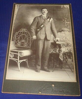 RP2216 Antique Cabinet Card Photo James Kennedy Boston MA & Birth Certificate