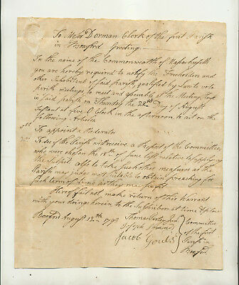 1793 Legal Document From Committee First Parish Boxford Ma Re Meeting Voters